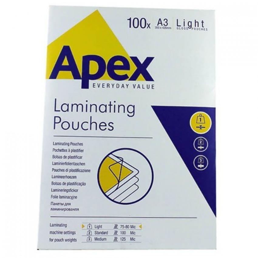 Pack 100 fundas plastificar a3 80 micras brillo apex 0043859584840