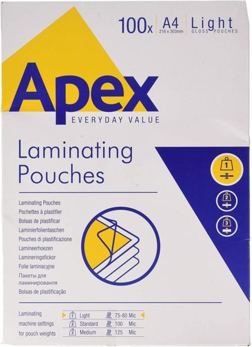 Pack 100 fundas plastificar a4 80 micras brillo apex 0043859584857