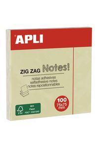 Bloc 100 notas adhesivas zigzag amarillas 75x75mm Apli 0410782120788