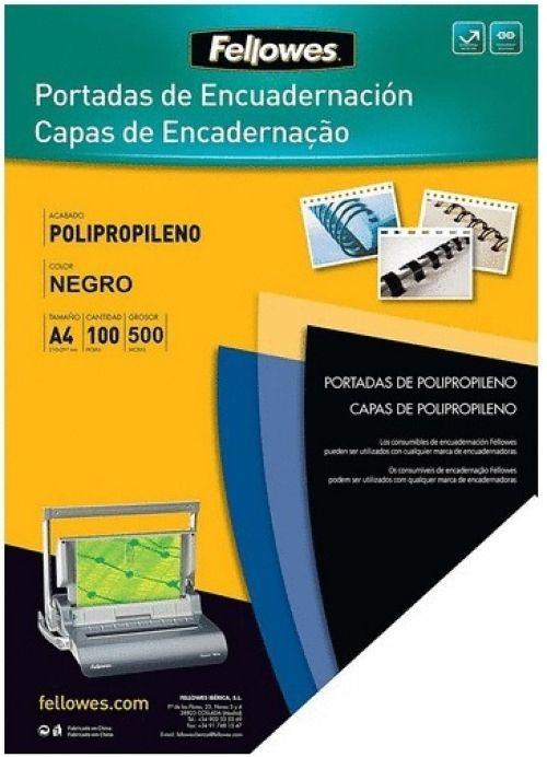 caja 100 tapas de encuadernación a4 pp 500 micras color negro 0438595179618