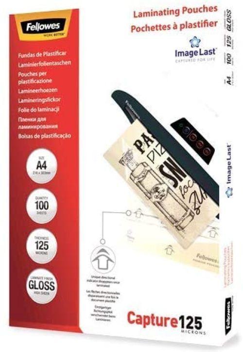 PACK 100 FUNDAS PLASTIFICAR A4 125 MICRAS BRILLO FELLOWES 0775115307466