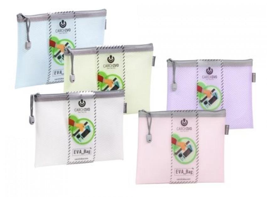 Paq/12 bolsas cremallera eva bag a6 colores surtidos 10,5cm x 14,8cm 1422951060312