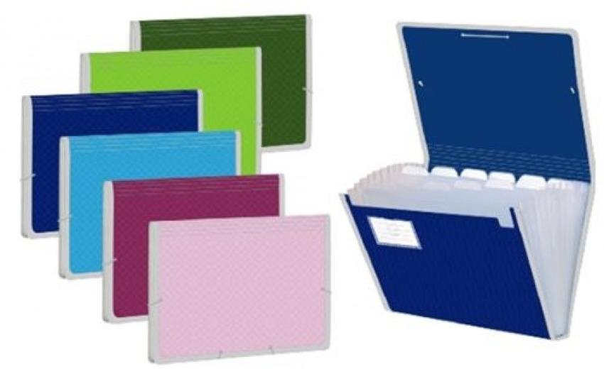 Caja 12 carpeta fuelle a4 colores surtidos polipropileno con 13 departamentos y ribete 1697294301006