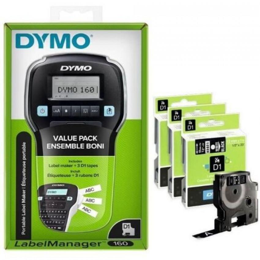 Pack etiquetadora dymo labelmanager 160 + 3 cintas d1 12mm negro sobre blanco 3026981422676