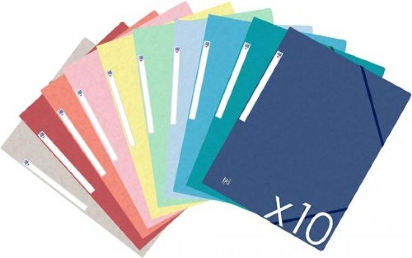 Paq/10 carpeta carton de gomas y solapas a4+ colores tendencia surtidos 3045050405556