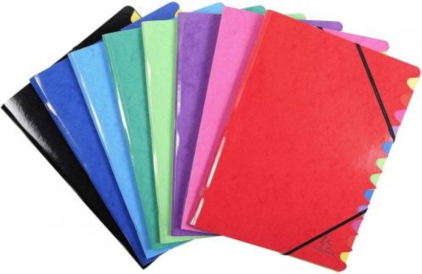 C/8 carpeta clasificadora 24,5x32cm 12 compartimentos carton lustrado colores surtidos 3130637541229