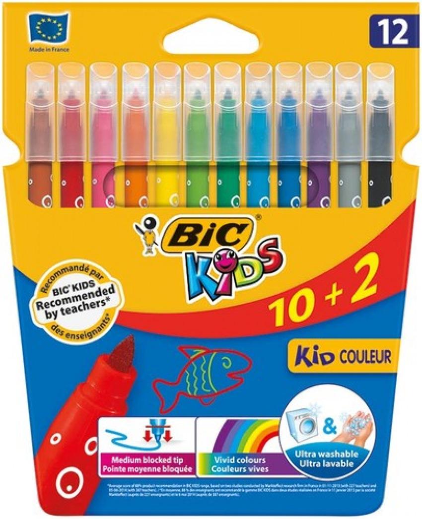 Estuche 12 rotuladores kid couleur punta media ultralavables bic 3270220103226
