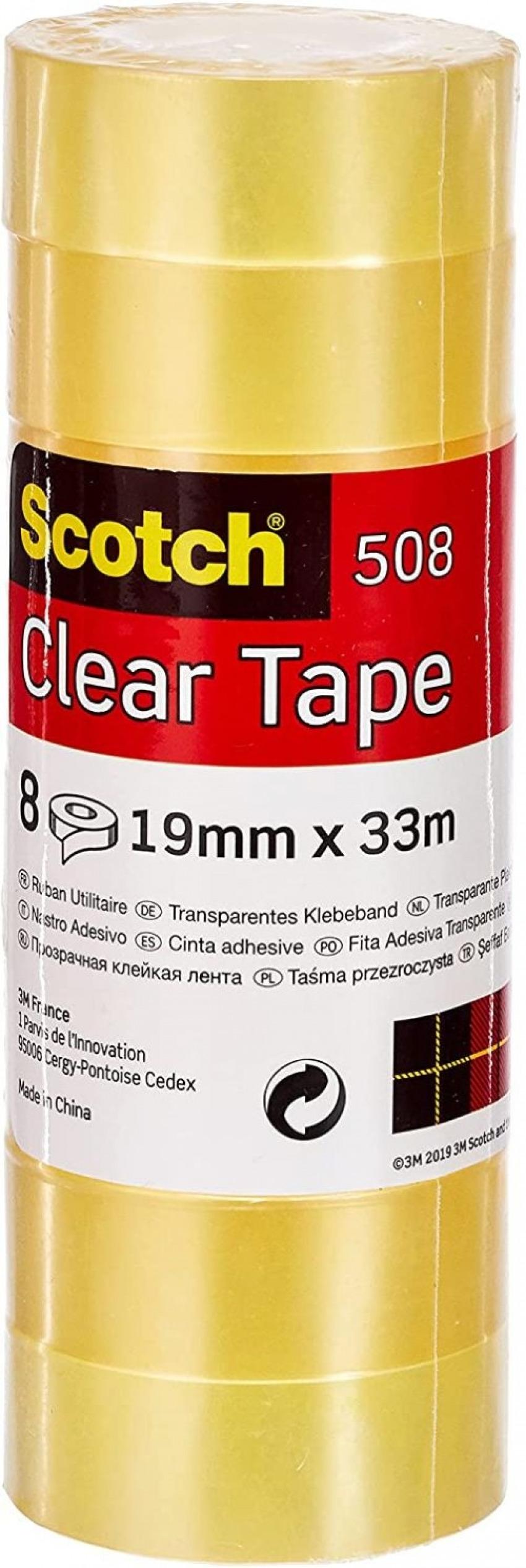 PACK 8 ROLLOS CINTA TRANSPARENTE 33MX19MM SCOTCH 508 4001895919947