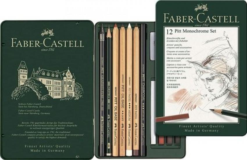 Caja metalica 12 piezas pitt monochrome faber castell 4005401129752