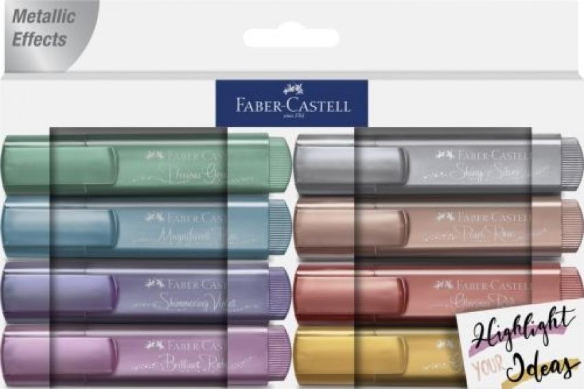 Estuche 8 marcadores texliner 46 metalicos colores surtidos faber-castell