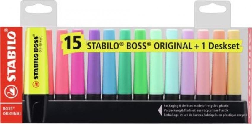 Set de mesa 15 marcadores stabilo boss 9 fluor clasico y 6 pastel 4006381517478