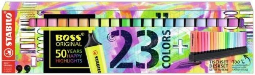 Set 23 marcadores stabilo boss 9 fluor y 19 pastel 50o. aniversar 4006381565936