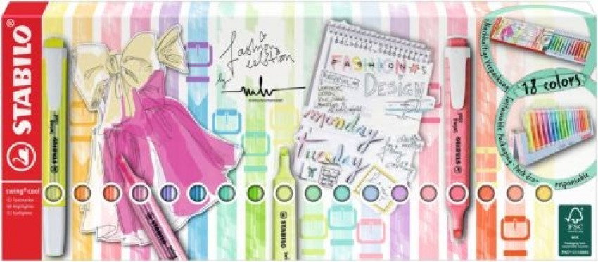Set 18 marcadores fluorescentes stabilo swing cool pastel 8 fluor+10 pastel 4006381565998