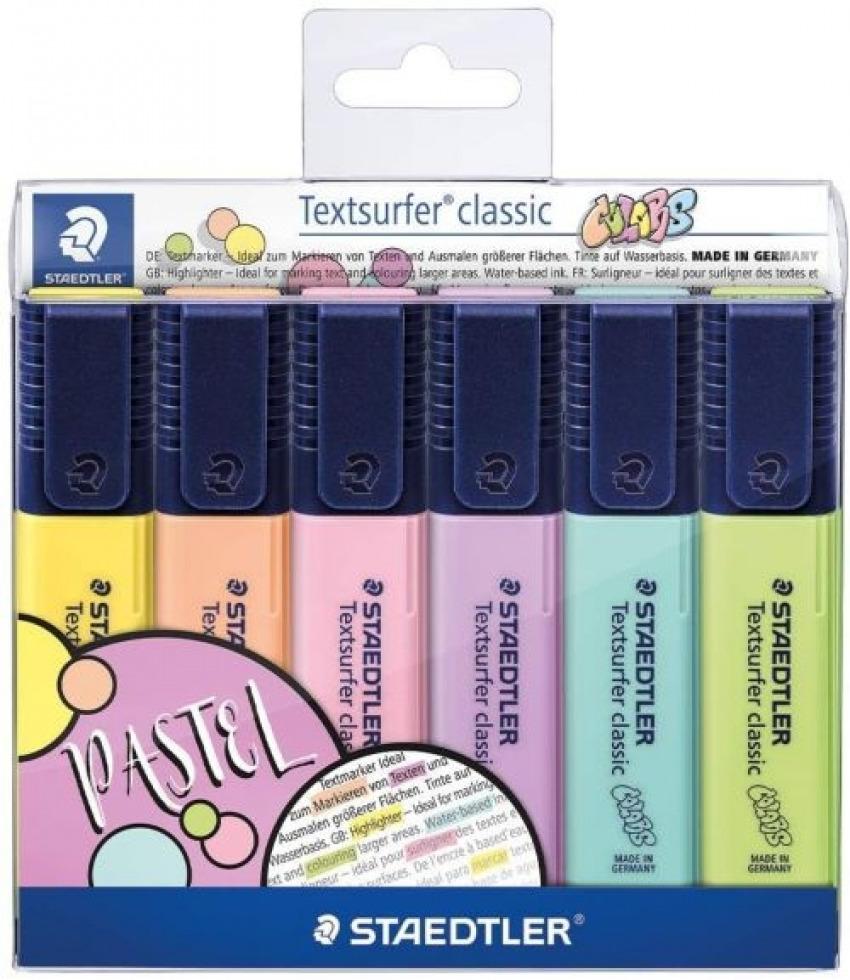 Estuche 6 marcadores textsurfer classic pastel colores surtidos
