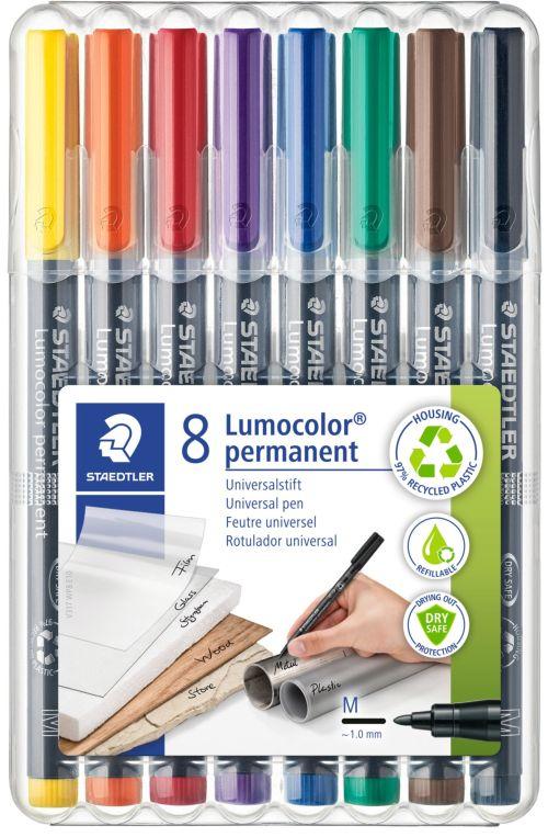 Estuche 8 rotuladores lumocolor 317 punta m colores surtidos 4007817310472