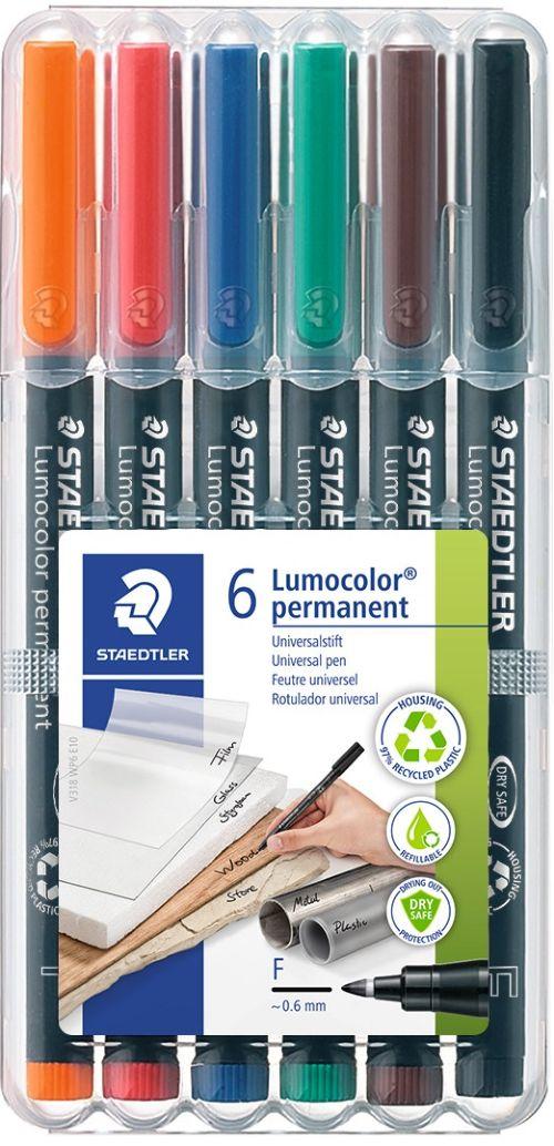 Estuche 6 rotuladores lumocolor 318 punta f colores surtidos 4007817323670