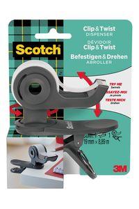 Portarrollos clip&twist c19 + cinta adhesiva scotch magic color gris pizarra 4054596714953