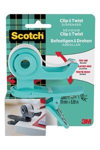 Portarrollos clip&twist c19 + cinta adhesiva scotch magic color agua marina 4054596714984