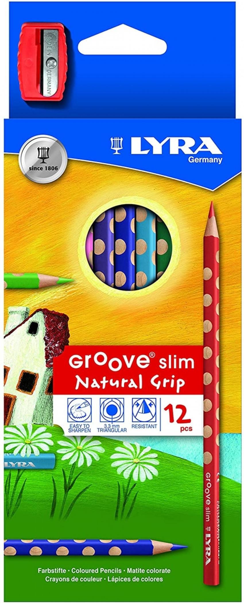 Estuche 12 lapices colores lyra groove slim + afilalapices de regalo 4084900202401