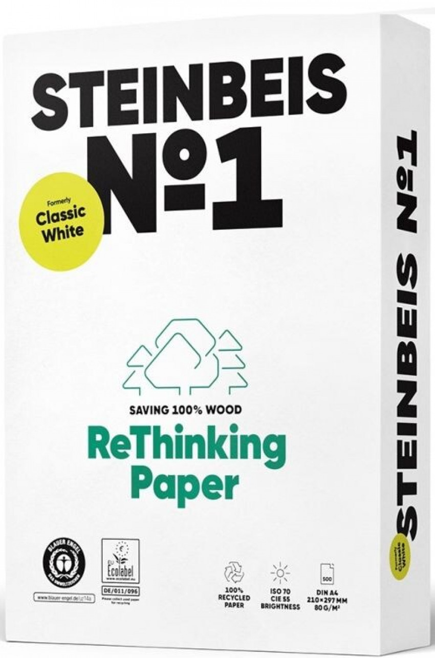 C/5 paquete 500 hojas a4 80g steinbeis classic white papel reciclado 4260074845013