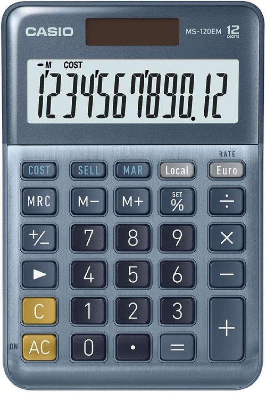 CALCULADORA SOBREMESA MS-120EM 12 DIGITOS SOLAR/PILAS AZUL 4549526609930
