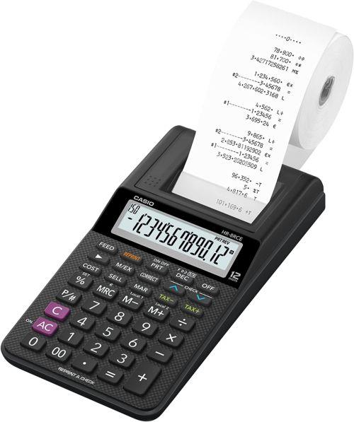 Calculadora impresora HR-8RCE pantalla 12 d¡gitos negra