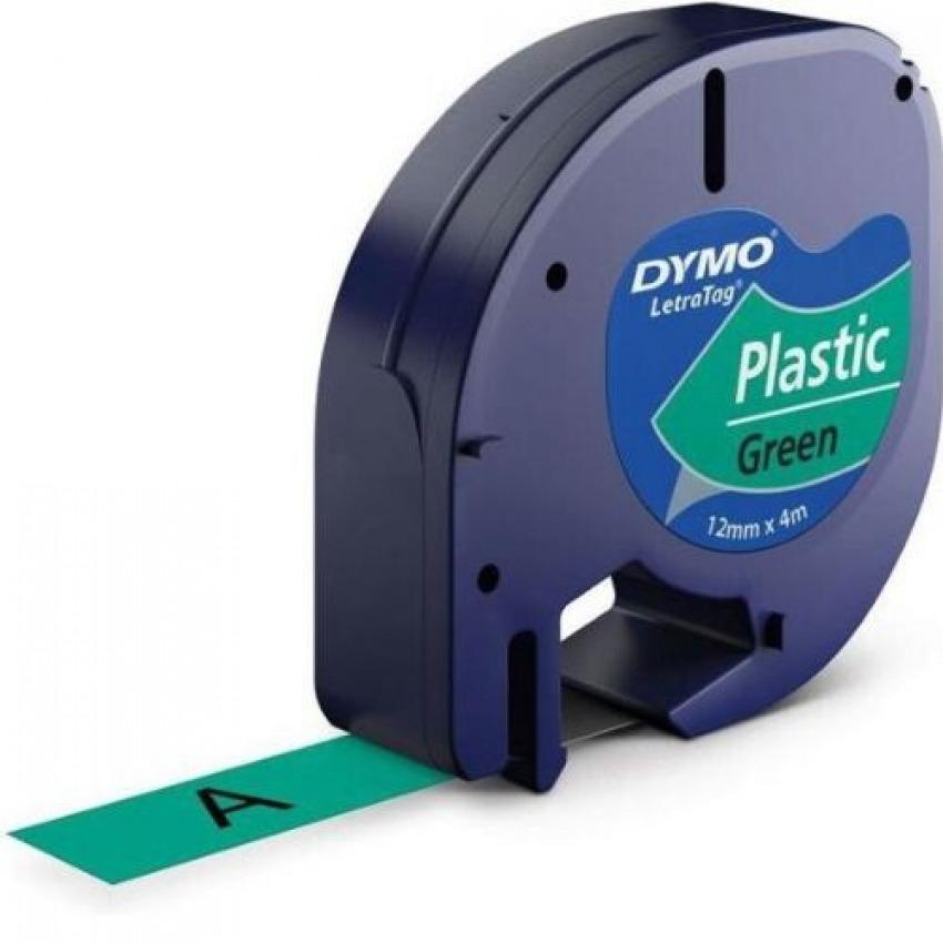 Cinta dymo letratag plastico negro/verde 12mmx4m 5411313912044