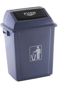 Papelera contenedor plastico con tapa balancin 20 litros color gris 340x240x450 5705831167483