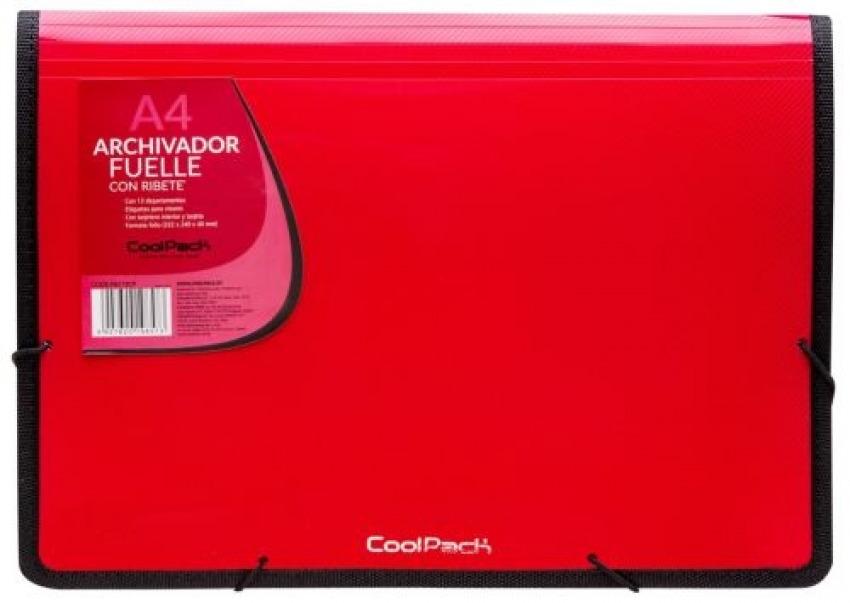 Carpeta fuelle a4 color rojo polipropileno con 13 departamentos y ribete negro 5907620198573