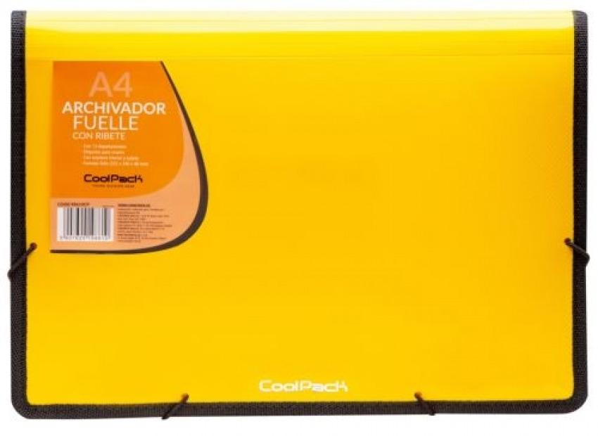 Carpeta fuelle a4 color amarillo polipropileno con 13 departamentos y ribete negro 5907620198610