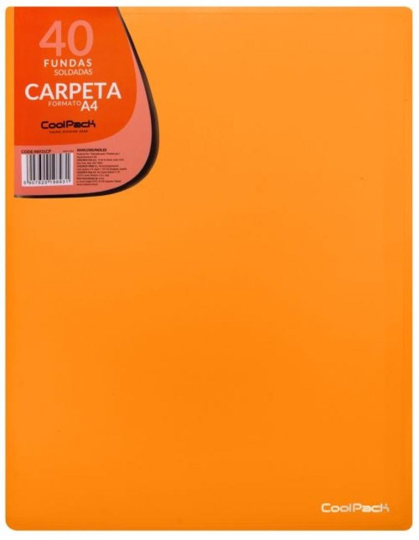 CARPETA 40 FUNDAS SOLDADAS A4 COLOR NARANJA COOLPACK 5907620198931