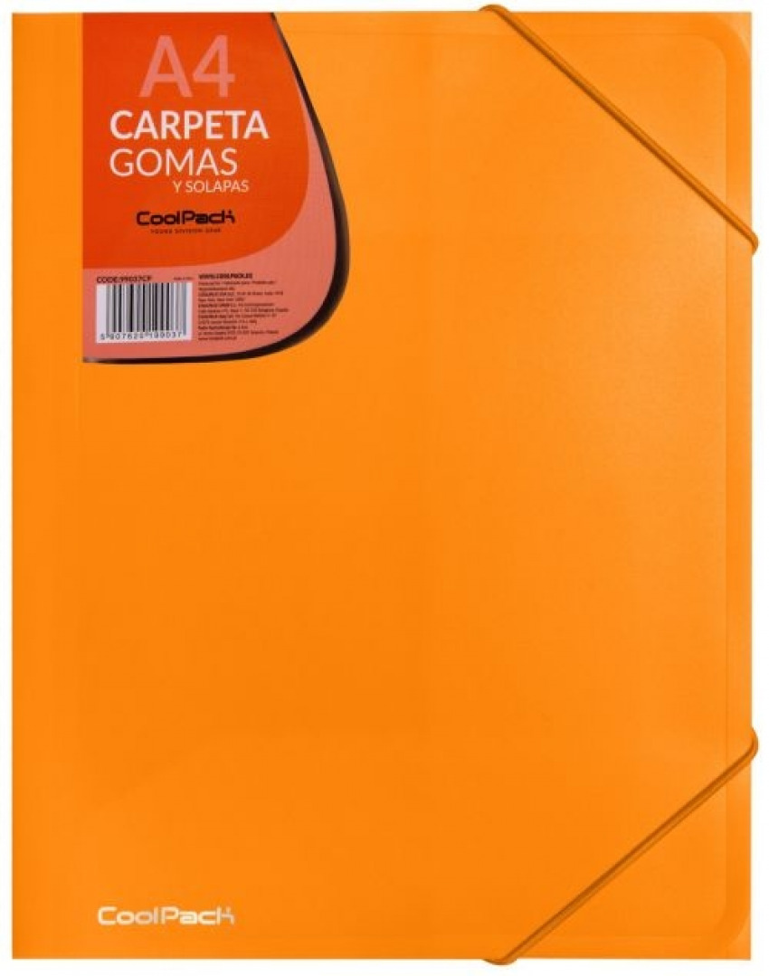 CARPETA A4 GOMAS Y SOLAPAS PP COLOR NARANJA COOLPACK 5907620199037