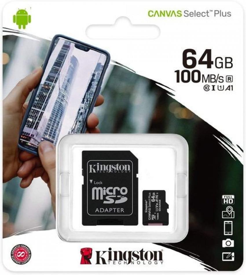Tarjeta micro sd 64gb kingston cl10 + adaptador 100mb/s 7406172986976
