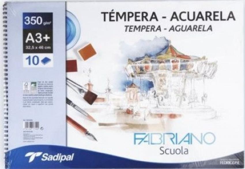 BLOC ESPIRAL ACUARELA Y TEMPERA A3 10H 350G FABRIANO SCUOLA 8001348177494