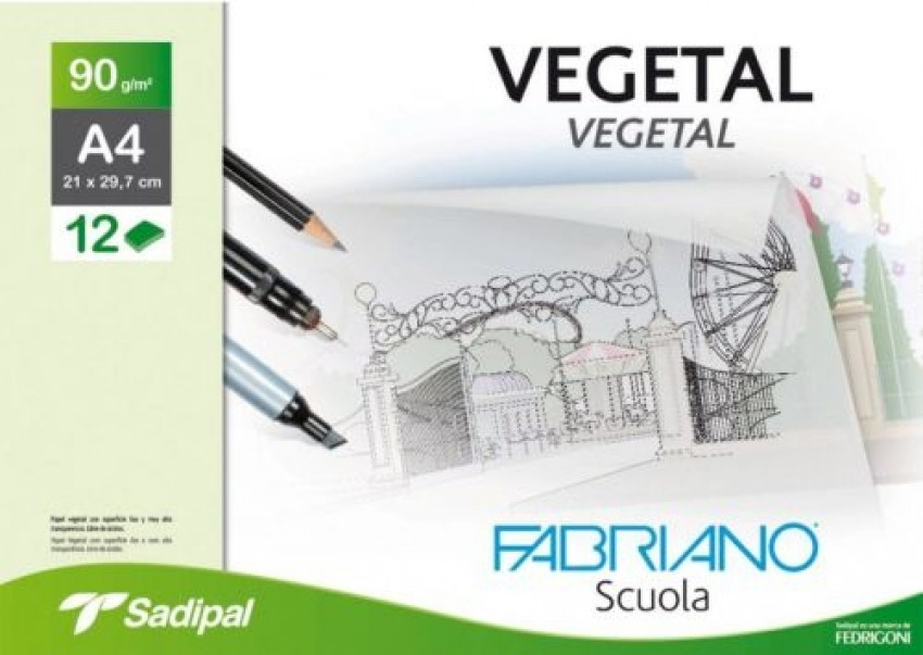 Minipack 12 hojas papel vegetal a4 90g. fabriano 8001348177548