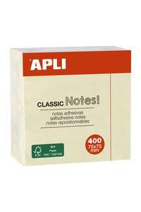 Cubo 400 notas adhesivas 75x75mm amarillas Apli 8410782115977