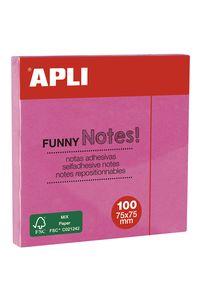 Bloc 100 notas adhesivas 75x75mm rosas Apli 8410782118985
