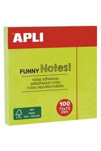 Bloc 100 notas adhesivas 75x75mm verdes Apli 8410782118992