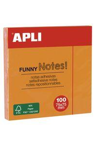 Bloc 100 notas adhesivas 75x75mm naranjas Apli 8410782119005