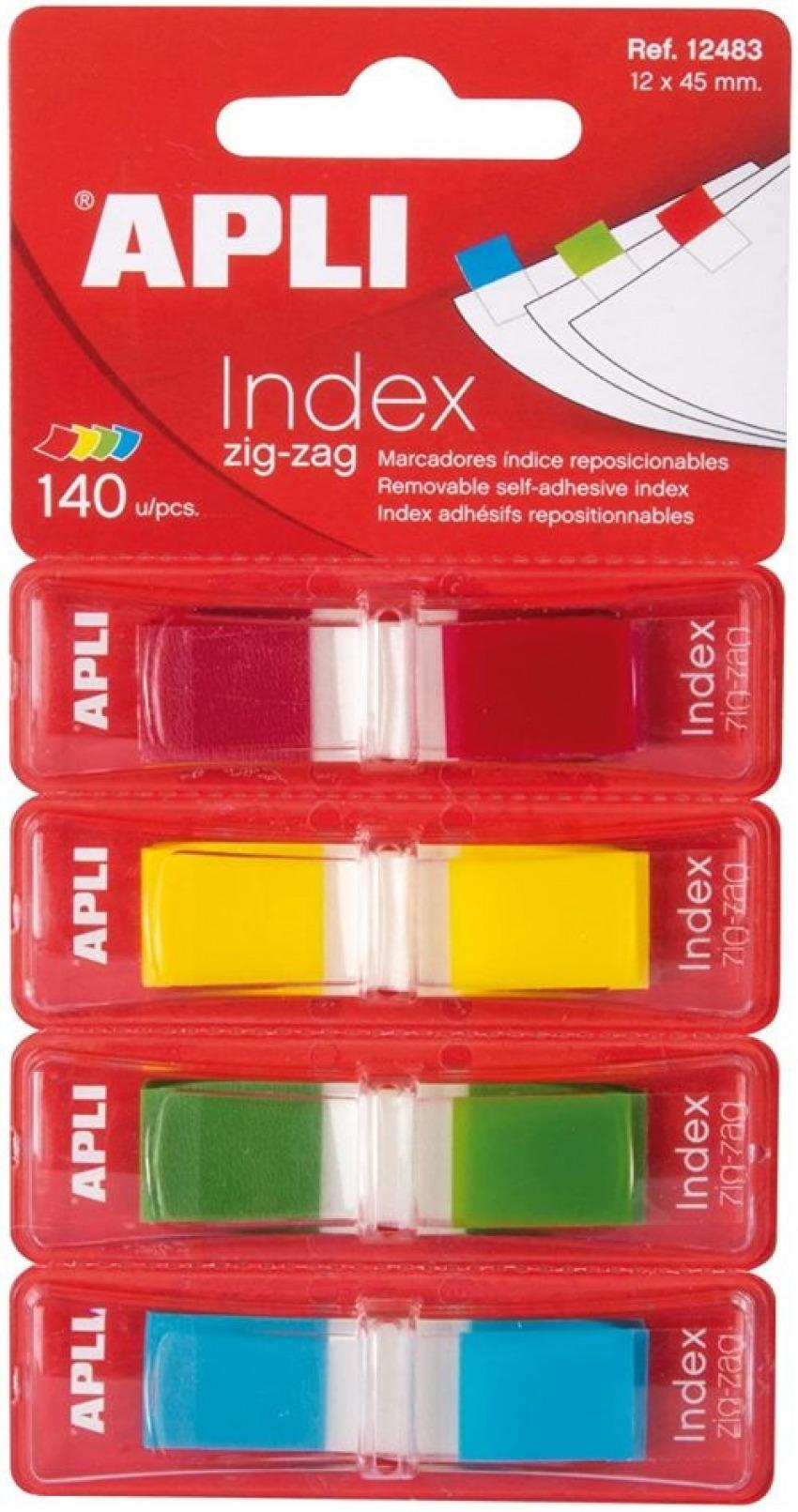 Índices autoadhesivos en zigzag colores surtidos Apli 8410782124832