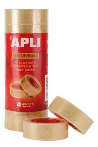 Paq/8 rollos cinta adhesiva 33mmx19mm transparente apli 8410782124900