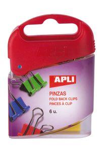 caja 6 pinza pala abatible 19mm colores surtidos apli 8410782126751