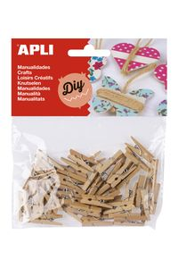 Paq/45 mini pinza madera natural 8410782134787