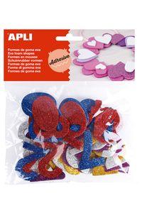 Bolsa 50 numeros goma eva purpurina adhesivas surtidas 8410782134862