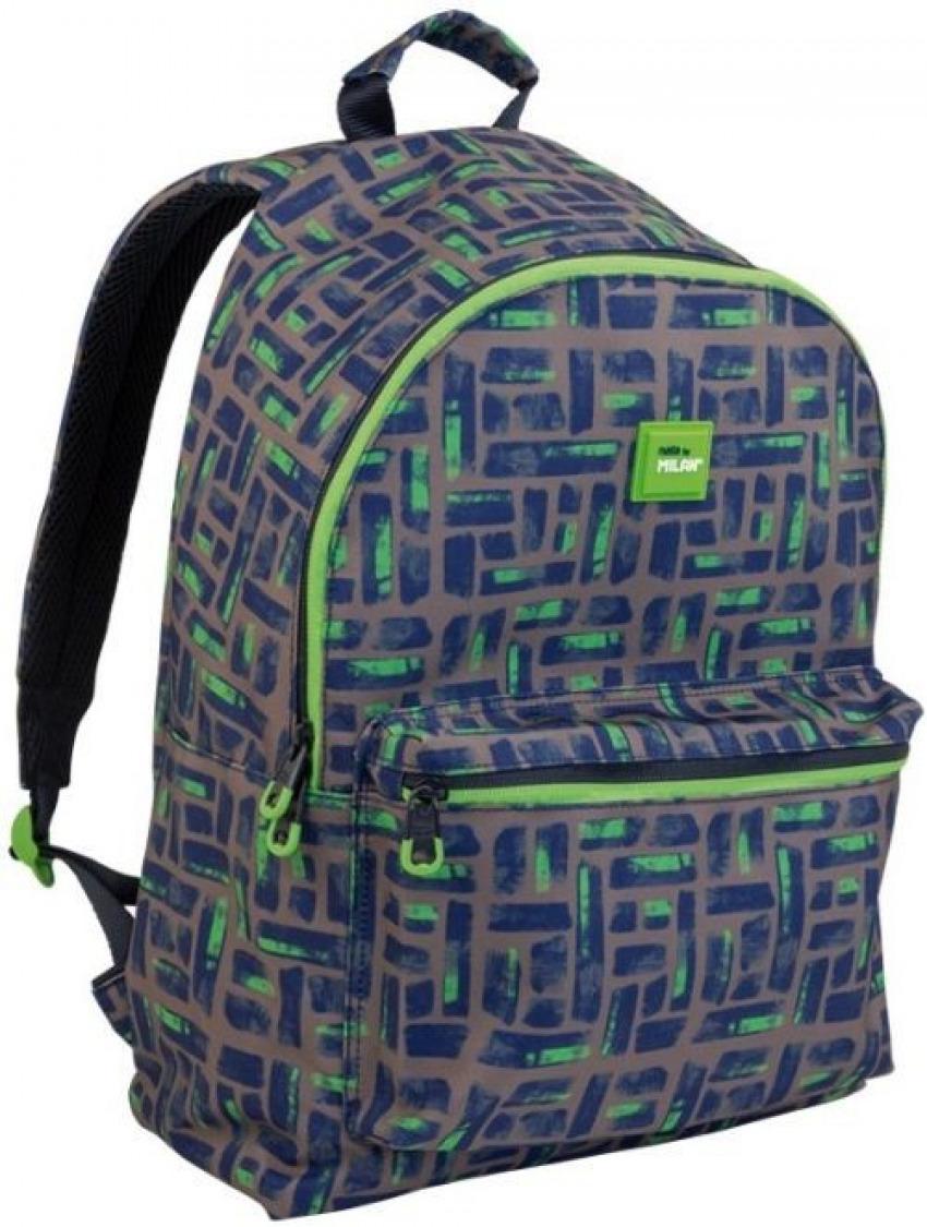 Mochila maze gris y verde 41x30x18 cm 8411574089490