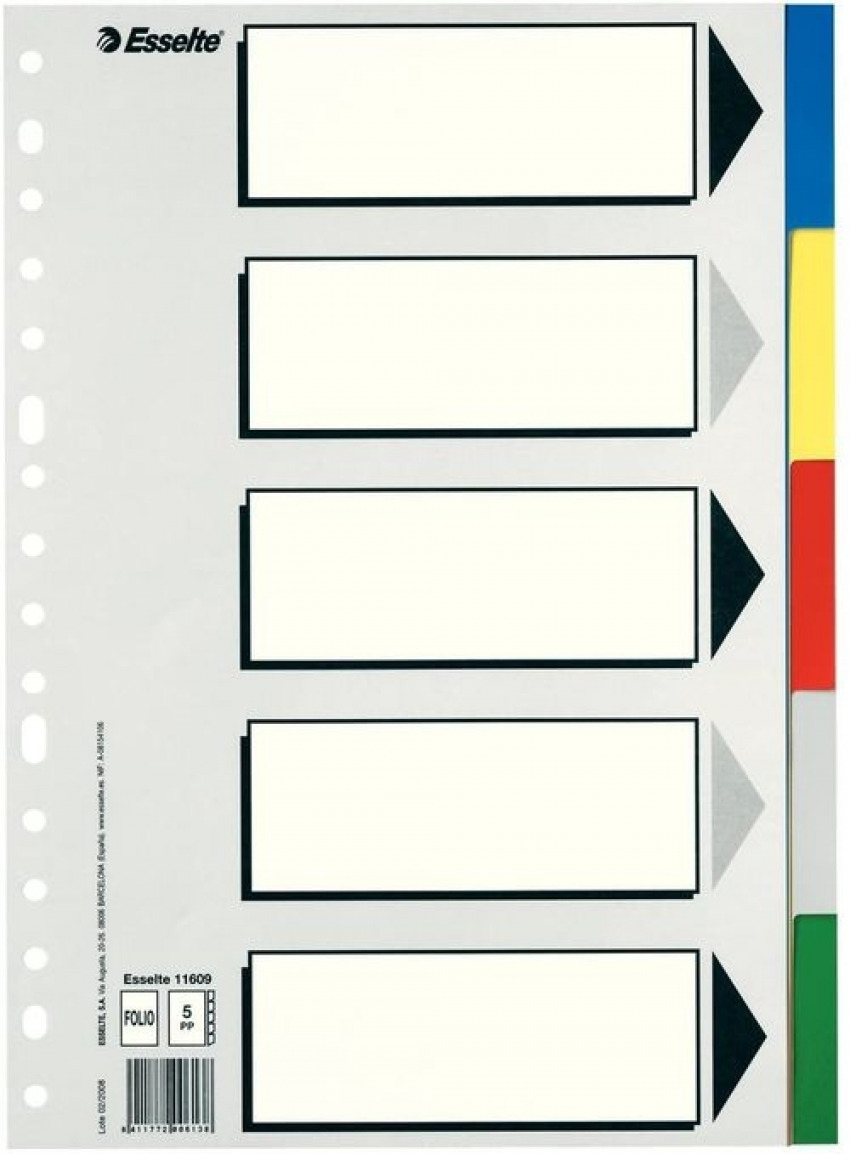 Bolsa separadores fo. multitaladro con 5 pestañas de colores pvc esselte 8411772006138