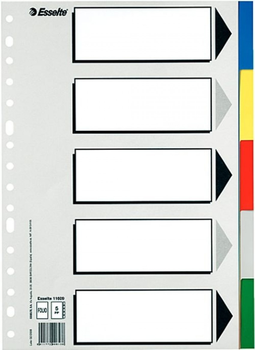 Bolsa separadores a4 multitalador con 5 pestañas de colores pvc esselte 8411772117094