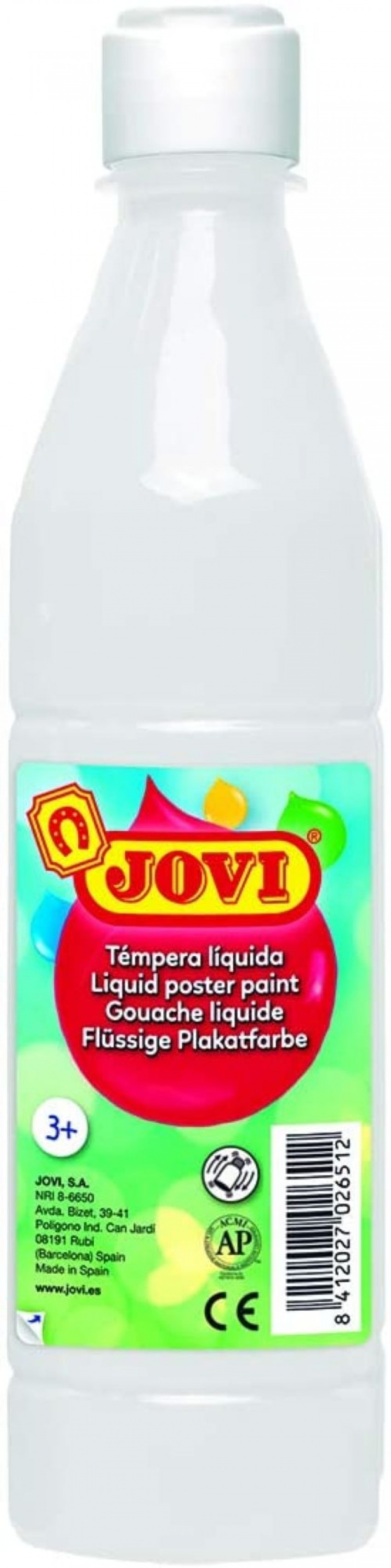 Bote tempera liquida jovi blanco 500 ml 8412027003643