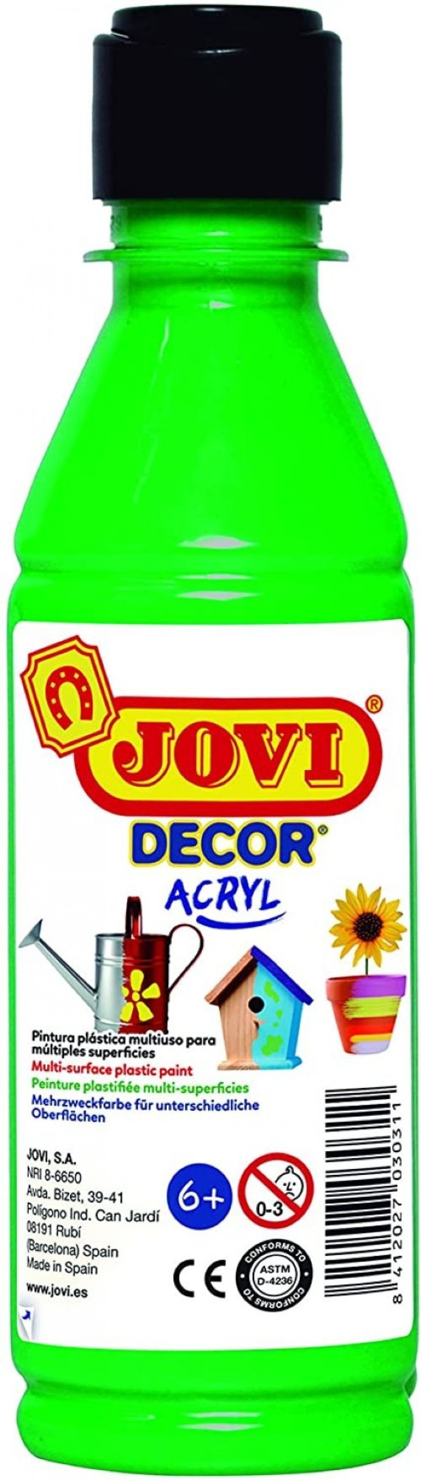 BOTE PINTURA JOVIDECOR ACRYL VERDE MEDIO 250ML 8412027024433