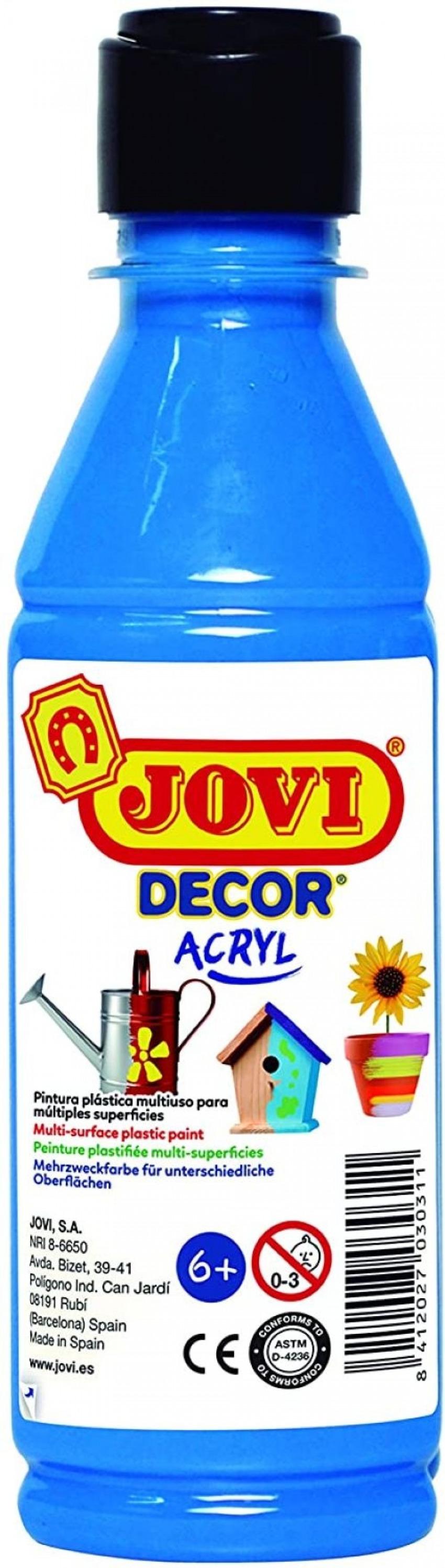BOTE PINTURA JOVIDECOR ACRYL AZUL CYAN 250ML 8412027024457